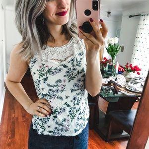 H&M White Green Floral Lace Tank Blouse XS